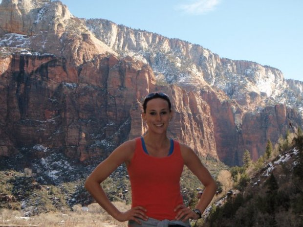 Pausing for a picture during a run in Zion National Park earlier this year.